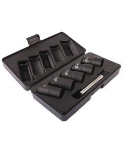 IMPACT TWISTED SOCKET SET FOR DAMAGED NUTS Ø17-Ø27mm (5 PCS)