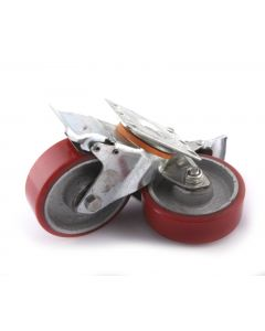 PAIR OF PIVOTING BRAKED WHEELS Ø100x31mm