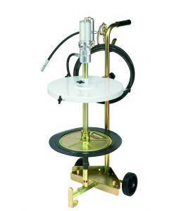 POMPE GRAISSE PNEUMATIQUE SUR CHARIOT POUR FUTS 50-60kg Ø420mm