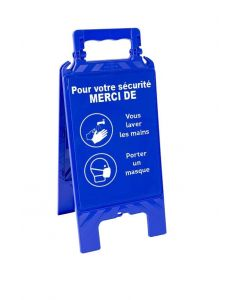 WASH HANDS AND MASK EASEL SIGNPOSTING 600x275mm