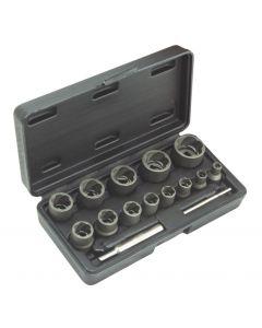 IMPACT TWISTED SOCKET SET FOR DAMAGED NUTS Ø6-27mm (17 PCS)